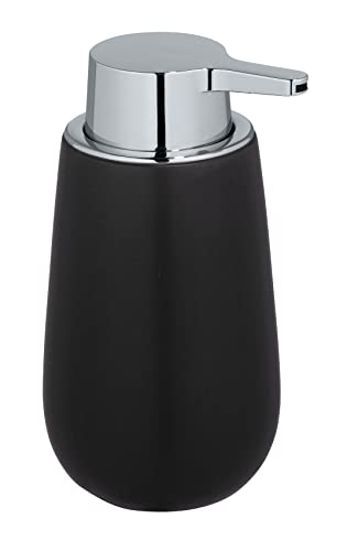 WENKO Dispensador de jabón Badi negro - Dispensador de jabón líquido Capacidad: 0.32 l, Cerámica, 9.5 x 16 x 8 cm, Negro