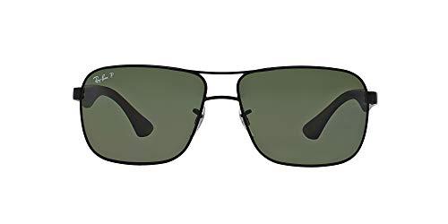 Ray-Ban Men's RB3516 Metal Square Sunglasses, Matte Black/Polarized Green, 59 mm