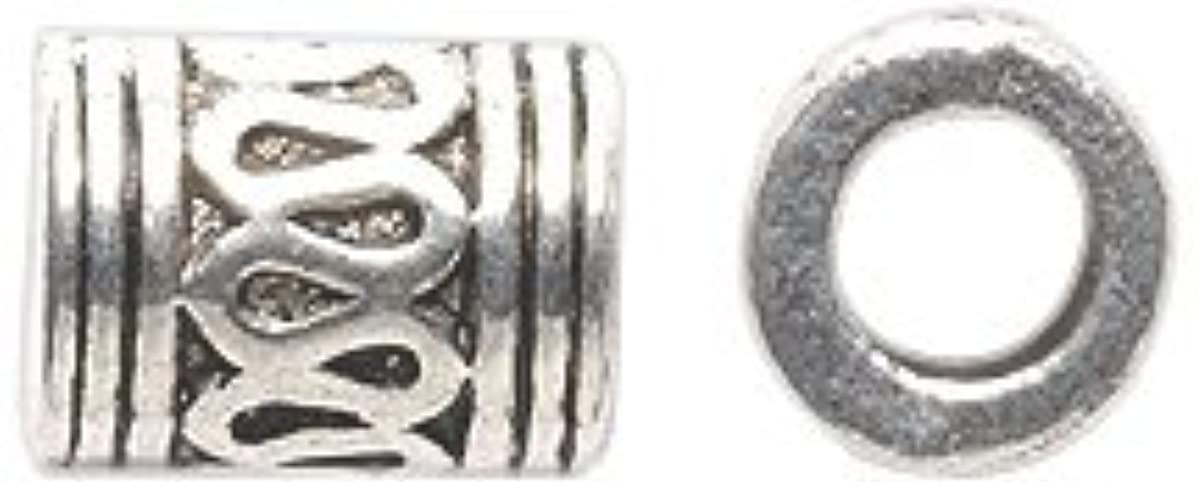 Shipwreck Beads Zinc Alloy Spacer Bead Tube with 4mm Hole, 7 x 9 mm, Silver