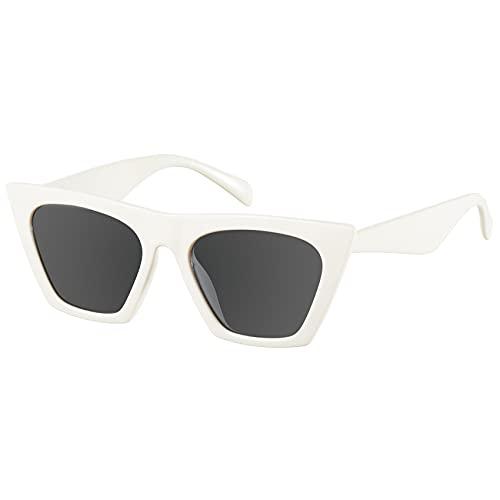 Mosanana Gafas de sol cuadradas de ojo de gato para mujer modelo de moda, (Blanco cremoso), Small