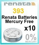 Renata 393 SR754W Knopfzellenbatterie / Uhrenbatterie 1,55 V, 10 Stück