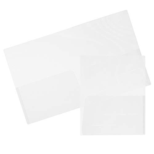 JAM PAPER Plastic Light Weight Flexible Two Pocket Presentation Folders - Clear - 6/Pack