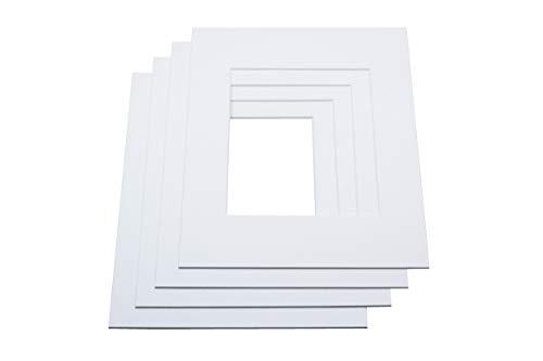 LIVINGTREE 2 paspartú blanco (tamaño exterior: 50 x 70 cm/tamaño interior: 40 x 50 cm) para fotos y marcos de fotos, 1,4 mm de grosor, calidad de museo, borde de corte de 45°, fabricado en Alemania