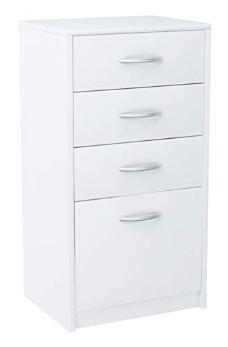 MATKAM Kommode mit Vier Schubladen   H/B/T 85 x 45 x 35 cm, Griffe in satinierter Metall-Optik   Schublade B/T 32 x 33 cm, Führungsschienen aus Metall (Weiß)