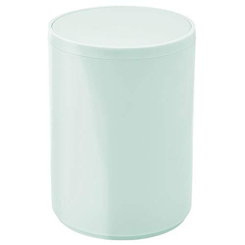 mDesign Cubo de basura con tapa basculante para baño o cocina – Papelera redonda de plástico – Contenedor de residuos compacto para interior – verde menta