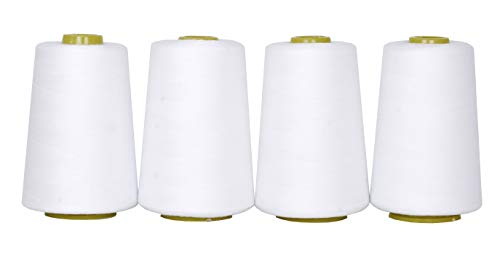 Mandala Crafts All Purpose Sewing Thread from Polyester for Serger Overlock Quilting Sewing Machine Pack of 4 40S/2 White