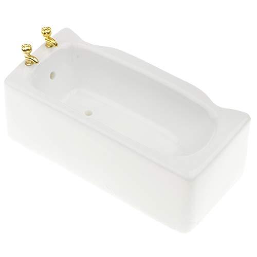 Mini Bañera de Baño Elegante Accesorios Decorativos para Casa de Muñecas Escala 1:12 Color Blanco - B