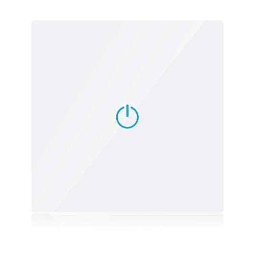 V-TAC PL15993 Smart WiFi Licht Compatibel met Amazon Alexa en Google Home Duurzame PC + Glass Panel Touch Sensor Timer Wandschakelaar (Neutraal draad vereist (BS Plug, 1 Gang-White)