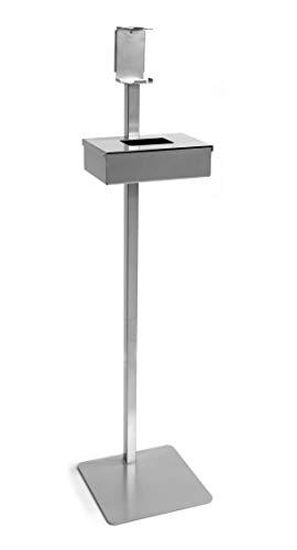 Hostelnovo - Tótem - Soporte dispensador de Gel desinfectante de Manos + Caja dispensadora de Guantes - En Chapa decapado - 1200 x 300 x 300 mm