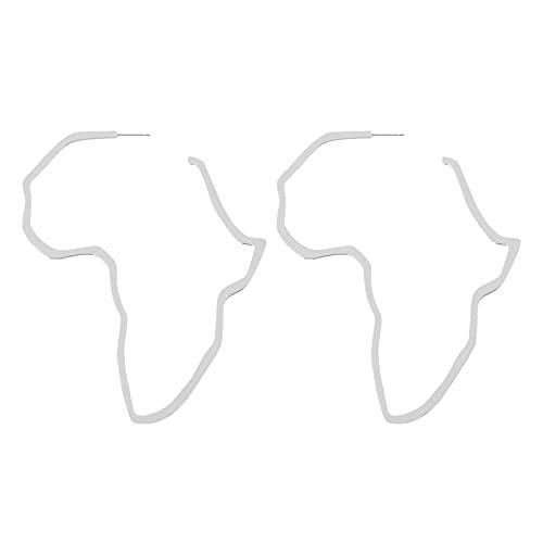 MVPACKEEY Pendientes de gota con forma de mapa africano, aleación de zinc ligera, para hombres y mujeres