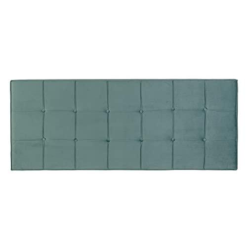 Cabecero tapizado capitoné de Terciopelo Azul para Cama de 135/150 cm - LOLAhome