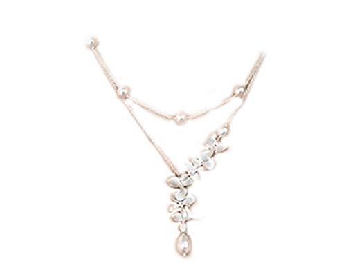 Collar de Perlas para Novia, Joyería de Orquídea, Doble hebra de Color Blanco Marfil u Otros Colores, Perla Plateada