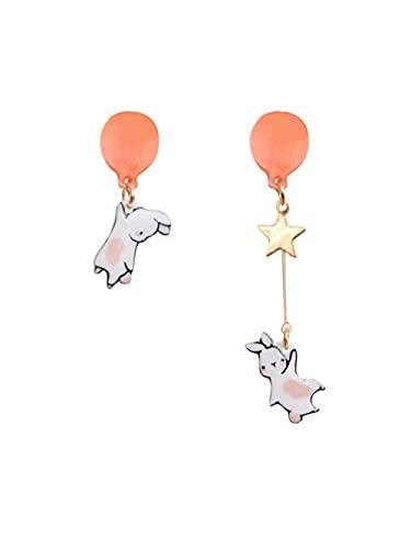 sis-woner Original Lindo Globo Conejo s925 Pendientes de Plata Pendientes asimétricos de niña Dulce Clips de Oreja-Q_A