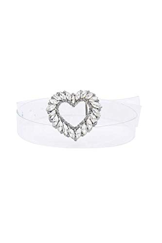 Shop & Buy Luxe Rhinestone Heart Buckle Clear Belt