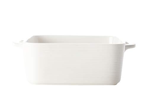 Casa Domani P470018 Plat à four carré en porcelaine Blanc