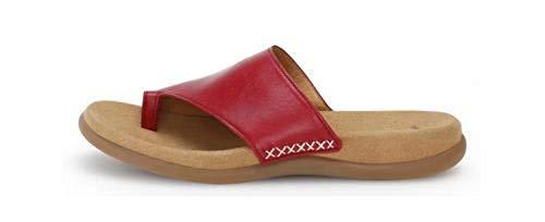 Gabor 43-700 Damen Pantoletten Zehentrenner Leder, Schuhgröße:40 EU, Farbe:Rot