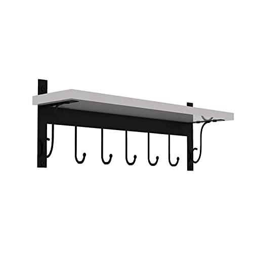 HJW Praktische opbergrek Rustieke Hangende Entryway Plank met haken, Home Display Opbergplank voor Kleding Hoed Boeken 1Huiyang-01020,40 Cm