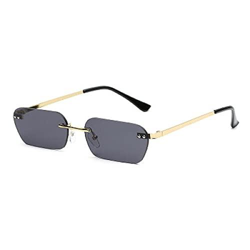 Powzz ornament 2021 Nuevas gafas de sol sin marcaras Moda masculina con pequeña caja de sol mareilla masculina-NEGRO
