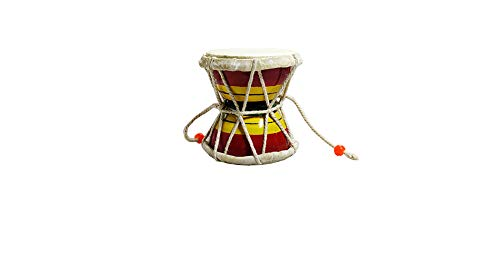 NK GLOBAL Indisches Damaru handgefertigtes Schaustück Shiva Ornamente Holzfiguren Heimdeko Sammlerstücke Affe Trommel Percussion Instrumente Volksmusik Geschenke