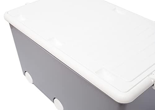 LAPSI® Spielzeugkiste, Aufbewahrungsbox mit 6 Rollen mit Deckel auf Rädern Grau Eule - 5