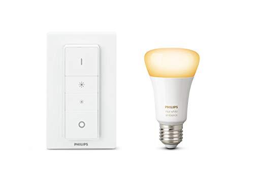 Philips 8718696678404 Ampoule avec Télécommande variateur de lumière Verre/Matières synthétiques 9,5 W E27 Blanc 17, 5 x 7, 5 x 14 2 pièces, Blanc