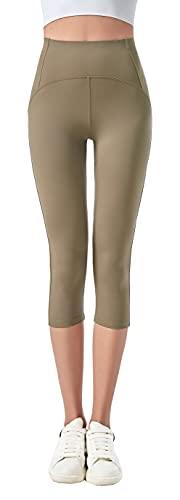 JOPHY & CO. Leggings 3/4 Donna Elastico per Yoga e Pilates (cod. 9901) (Verde Militare, XL)