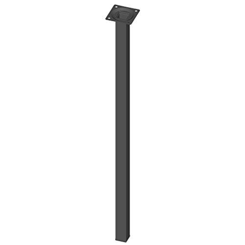 Element System 11101-00051 - 4 gambe in acciaio, base rettangolare, per tavoli e mobili con piastra di ancoraggio, Nero, Altezza: 60 cm
