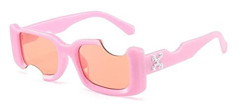 WQZYY&ASDCD Gafas de Sol Gafas De Sol Rectangulares Vintage para Mujer, con Pequeños Agujeros Negros, Gafas De Sol para Mujer, Verdes, para Hombre, Gafas Uv400-C5_Pink_Red