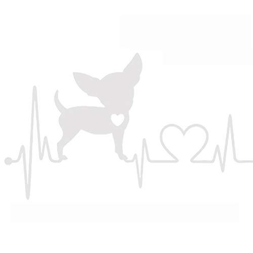 Vosarea Auto Dekorative Aufkleber Wasserdicht Heartbeat Lifeline Monitor Chihuahua Hund Vinyl Aufkleber (Weiß)