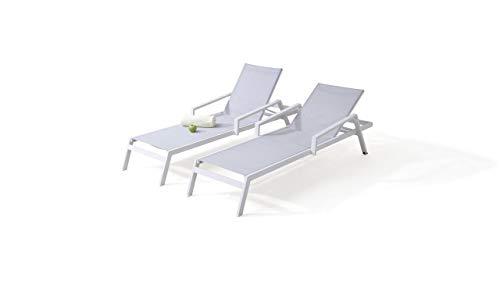 talfa Gartenliege, Relaxliege; Aluminium Gartenmöbel Liegen Set in Weiß - Eldorado, 2 Stück Gartenmöbel