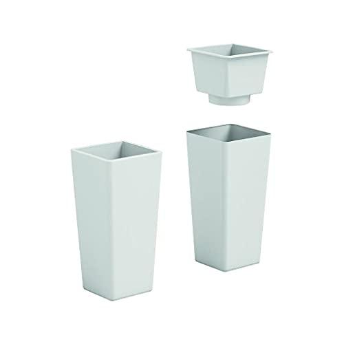 VECA SPA Cachepot Vaso fioriera in plastica Clou Quadrato Bianco Colore Bianco h 85 cm per Interno Esterno Made in Italy AMDGarden