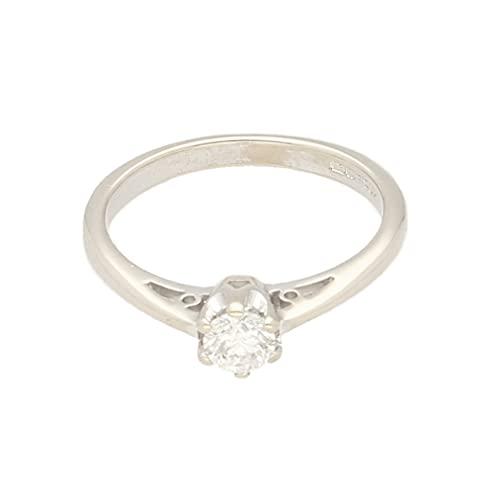Anillo solitario de oro blanco de 9 quilates de 0,25 quilates (tamaño J 1/2) cabeza de 4 mm, anillo de lujo para mujer