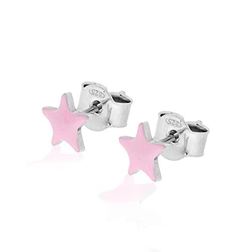 Pendientes estrellas de plata 925 con esmalte de color.
