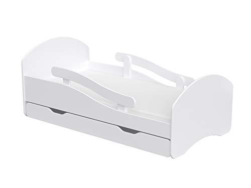 Clamaro 'LEO' Kinderbett Jugendbett 140x70 mit verstellbarem Rausfallschutz (beidseitig) und Kantenschutzleisten, Bett Set inkl. Lattenrost, Matratze und Bettkasten Schublade auf Rollen - Weiß/Weiß
