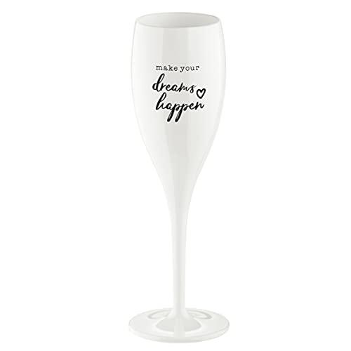 Koziol 3441525 Cheers NO. 1 Dreams Happen, Champagne Glass, Prosecco Flute, Cotton White