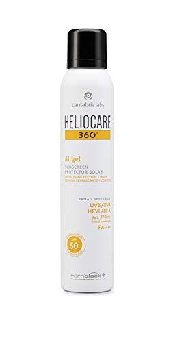 Heliocare 360º Airgel SPF 50 - Crema Solar Corporal Ligera, Fórmula Espuma, Frescura para Todo Tipo de Piel, Absorción Inmediata, Alta Protección, 200ml
