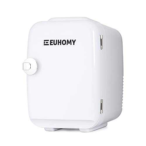 Euhomy Mini fridge for bedroom, 4 L / 6 cans Portable fridge & Electric Cooler and Warmer, Car fridge with AC/DC, Small fridge for room, office, dorm. Mini fridge for skin care and cosmetics.(white)