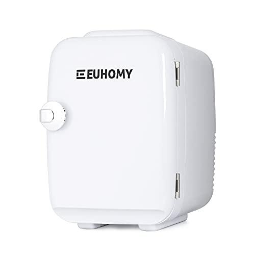 Euhomy Mini nevera para dormitorio, 4 L/6 latas, nevera portátil y enfriador eléctrico y calentador, nevera de coche con AC/DC,...