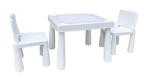 HomeStoreDirect Children's White Plastic Table And 2 Chairs Set For Indoor Or Outdoor Use