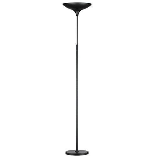 "Globe Electric 12784 LED Floor Lamp Torchiere, Energy Star Certified, Dimmable Super Bright, 43W, 3000 Lumens, 1 x 43W Integrated LED, 12.99"" x 12.99"" x 70.9"", Black Satin Finish"