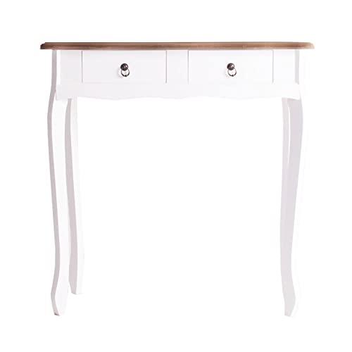 Lastdeco Mueble Recibidor Estrecho o Mesa Auxiliar Entrada o Pasillo. Consola Madera con 2 Cajones. Color Blanco y Natural. Diseño Moderno. Modelo Altea. 77,5 x 79 x 33 cm