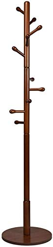 yxx Tree Rack Wooden Coat Rack, Height Adjustable Entryway Hall Tree Coat Tree w/ 10 Hooks & Stable Round Base, Tool-Free Assembly Coat Rack Stand for Hallway, Bedroom, Living Room