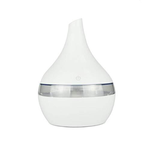 LHY FAN 300ml USB Aroma eléctrico Difusor de Aire de Madera Humidificador de Aire ultrasónico Aceite Esencial Aromaterapia Fabricante de Niebla fría para el hogar,Blanco