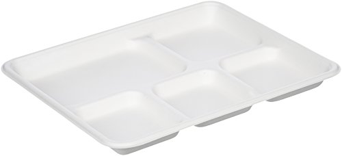 AmazonBasics Compostable 5-Compartment Food Trays, Pack of 500