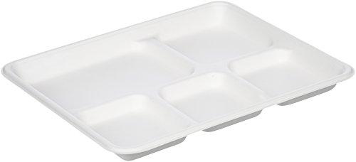Amazon Basics - Bandejas de comida desechables, convertibles en abono ecológico y biodegradables, 5 compartimentos, 125 unidades