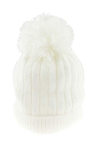 Glamour Girlz Bonnet super doux pour bébé fille garçon chaud en tricot côtelé avec pompon (Blanc, 12–18 mois)
