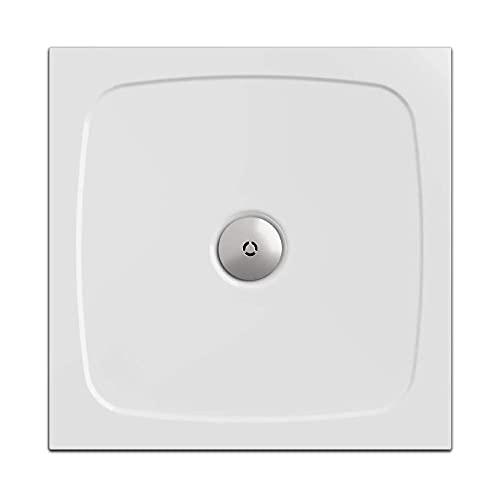 Piatto doccia, quadrato 90 x 90 cm | Nordona® SIMPLEX | altezza di costruzione super sottile di 3 cm | costruzione stabile, di alta qualità | Sifone compatibile VersoFlat