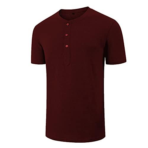 Camisa Henley Hombre Botones Cuello Redondo Elásticos Verano Camisa Deportiva Hombre Informal Transpirable Cómodas Camisas Ocio Sencillez Todo Fósforo Manga Corta Hombre G-Red XL