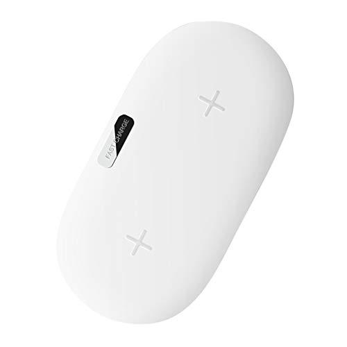 Dual-Ladegerät Fast Wireless Charger für Samsung Galaxy Note 10/10+, für iPhone 8/8 plus/X, 10w 7.5w Schnelles Kabelloses Ladegerät Material: PC + ABS + Kieselgel (weiß)