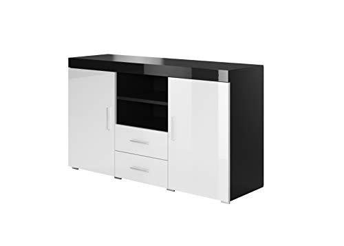 muebles bonitos Modell Roque weiß schwarz Melamin Glanz Breite 140cm Höhe 80cm Tiefe 40cm